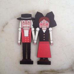 magnet en bois Couple Casse-Noisette - made in France (Alsace)