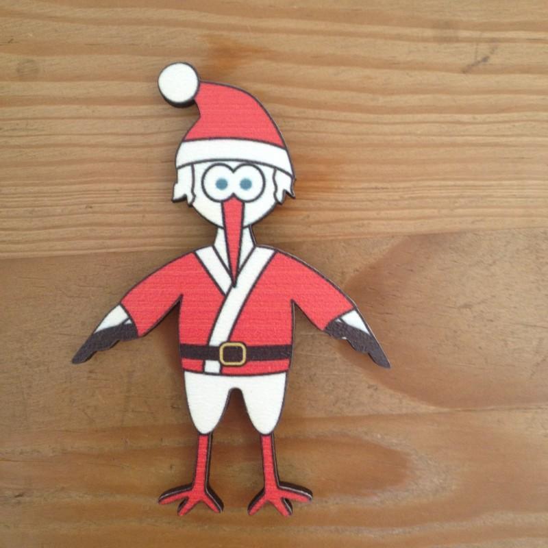 Magnet Cigogne Père Noël - Made in France (Alsace)