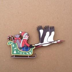 Magnet Traîneau de Noël tiré par des cigognes