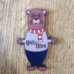 magnet en bois Hairy Otter - made in France